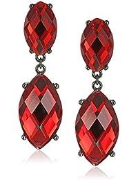 Black-Tone Red Faceted Drop Earrings