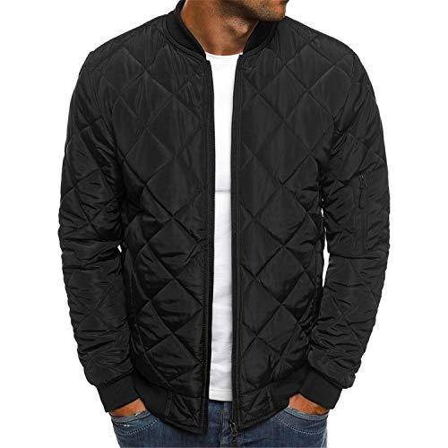 Soluo Men's Latticed Baseball Bomber Jacket Slim Fit Coat Outerwear Warm Outdoor Windbreaker