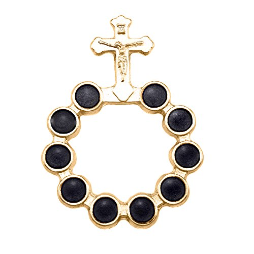 (Gold Finish Decade Rosary with Black Beads)