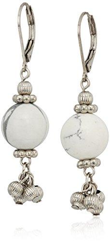 Genuine Precious Stone (1928 Jewelry Silver Tone Genuine Semi Precious Gemstone White Howlite Round Drop Earrings)