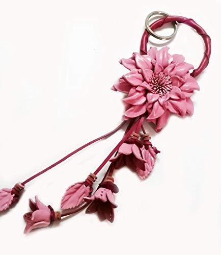Padee Genuine Leather Pink Dahlia Flower Keychain Keyring Keyfob Snap Strap for Hanging Handbag Wallet Purse Car Charm Handmade Handcraft Keychain#STPKEY0119 ()