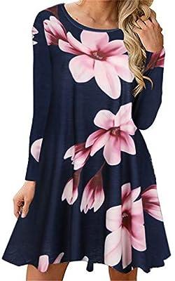Tshirt Dresses for Women Boho Casual 3/4 Sleeve Floral Shift Pockets Swing Loose Damask