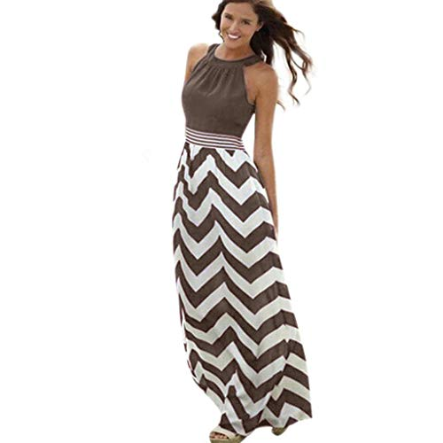 aihihe Women's Casual Loose Stripes Dress Cocktail Party Evening Summer Beach Cover Up Long Maxi Dresses (Brown,XL) -