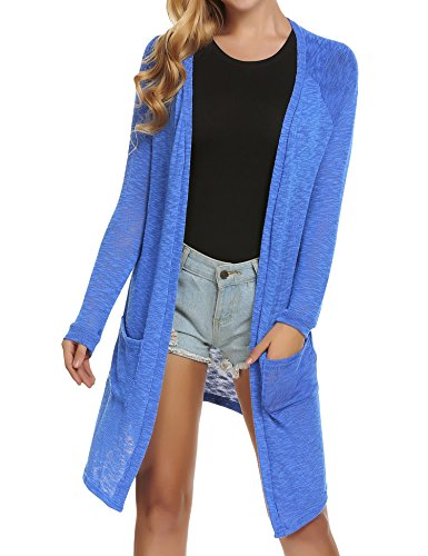 Long Front Sleeved (ELESOL Women's Loose Casual Long Sleeved Open Front Breathable Cardigans with Pocket Blue XXL)