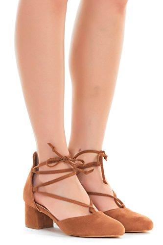 Up Lace Lace Wrap (Emma Shoes Womens Pumps Heeled Lace-up, Ankle Tie Sandals (8, Cognac))
