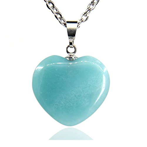 Amazonite Jewelry (Natural Blue Amazonite Gemstone Heart Charm Pendant Necklaces 18