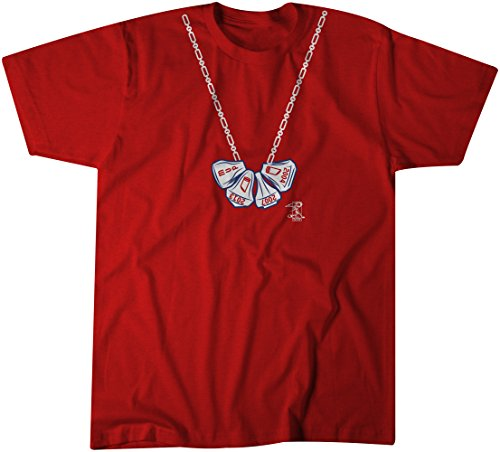 Boston Red Sox 2007 Printed - MLB Boston Red Sox David Ortiz Men's Big Papi Ring Necklace, Large, Navy Blue