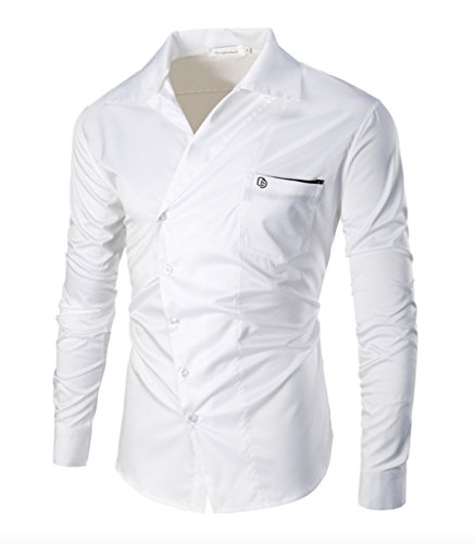 Elonglin Mens Casual Shirt Asymmetrical Oblique Pocket Cotton Long Sleeve  Shirt: Amazon.co.uk: Clothing