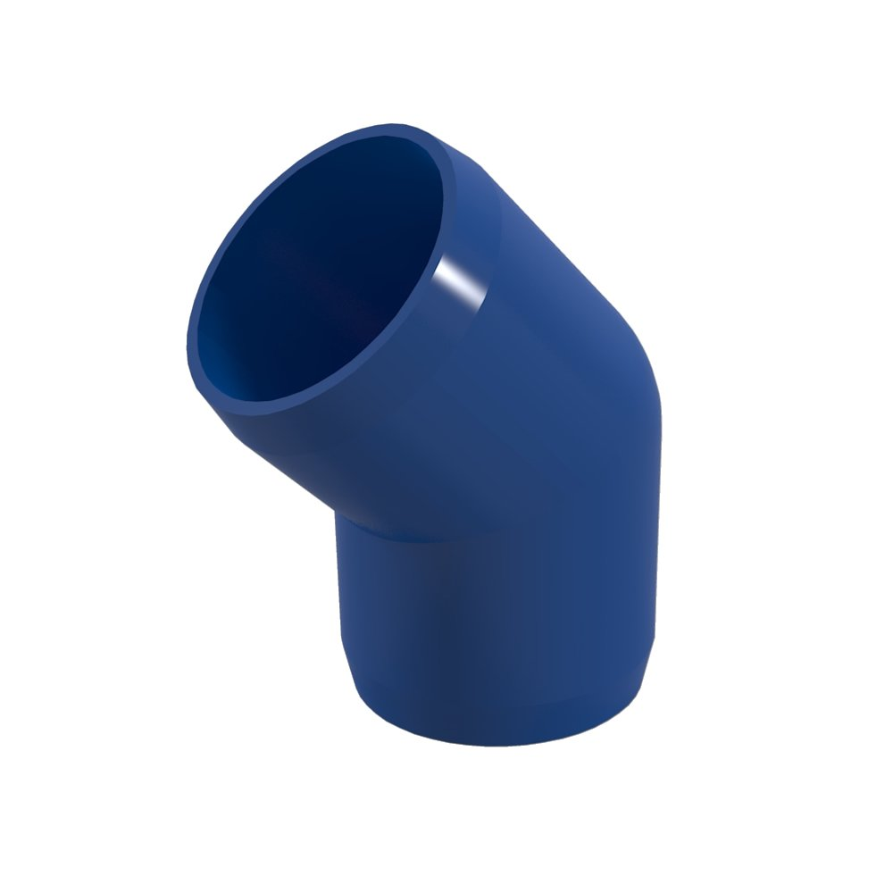 "FORMUFIT F00145E-BL-4 45 degree Elbow PVC Fitting, Furniture Grade, 1"" Size, Blue (Pack of 4)"