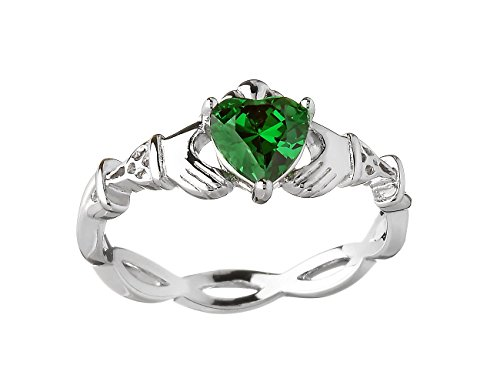 Irish Claddagh Ring Silver Weave Green CZ Made in Ireland Sz 7