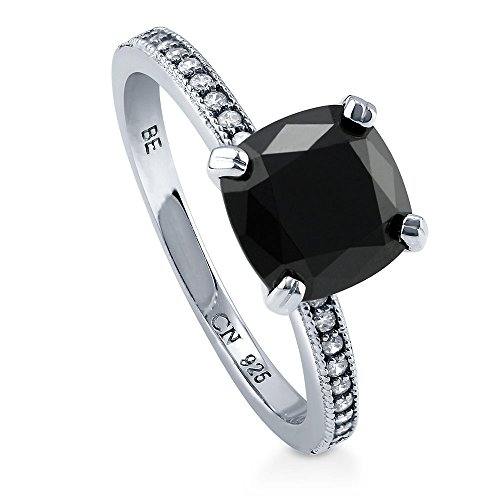 - BERRICLE Rhodium Plated Sterling Silver Cushion Cut Black Cubic Zirconia CZ Solitaire Ring Size 7