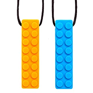 Sensory Chew Necklace Chewing Tool–(2 Pack with Extra Cord and Clasp) - Sensory Integration, Autism, ADHD–for Boys & Girls–Textured Silicone Teething and Biting (Orange, Blue & Green Assorted)