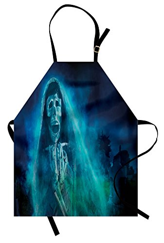 Ambesonne Halloween Apron, Gothic Dark Backdrop with a Dead Ghost Skull Mystical Haunted Horror Themed Digital Art, Unisex Kitchen Bib Apron with Adjustable Neck for Cooking Baking Gardening, Blue