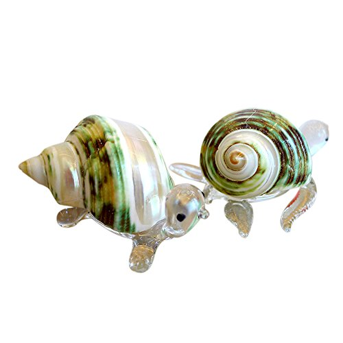 (Sansukjai 2 Pcs Turtle & Sea Turtle Figurines from Blown Glass Mix Natural Jade Green Turbo Shell Beach Animals Collectible Gift Home Decor#11)