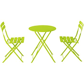 Grand Patio Outdoor Balcony Folding Steel Bistro Furniture Sets, Foldable  Table And Chairs, Green