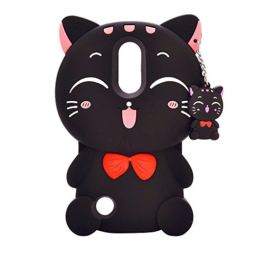 LG K20 Plus Case LG K20 Plus Cartoon Silicone Case,Bat King Cute Cartoon 3D Black Lucky Fortune Cat Kitty with Cute Bow Tie Soft Silicon Gel Rubber Case Cover for LG K20 Plus