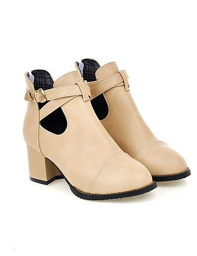 chaussons décontracté Talons Rond Xzz Gray robe amp; Carrière Buckleblack Talon Uk4 hiver Office Chunky chaussures Printemps automne De Femme Eu36 Bottes Cn36 us6 Pour bout PrqazRw8P