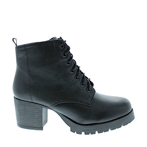 with Chunky Zipper Black Side Women's Shoes Bootie Ankle LOV Heel W7ZUwOnq