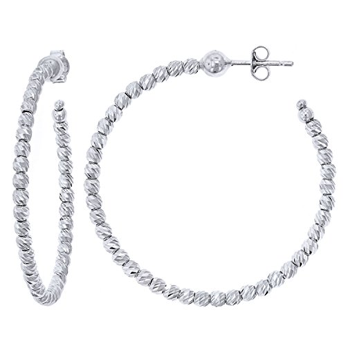 Officina Bernardi Sterling Silver Large Hoop Earrings (45MM) by Officina Bernardi (Image #3)