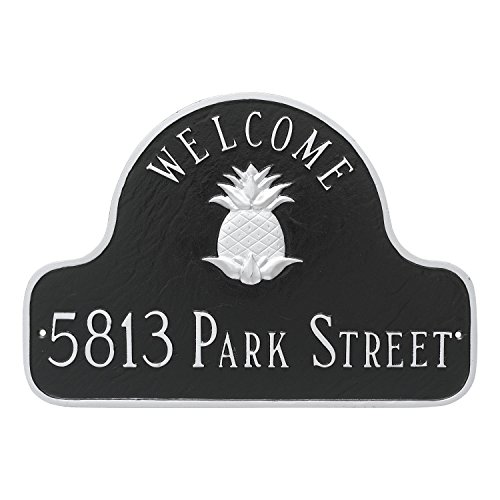 Montague Metal Pineapple Welcome Arch Full Address Sign Plaque, 11