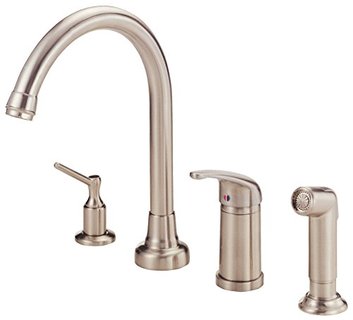 Danze D409112SS Melrose Single Handle High-Rise Kitchen Faucet with Side Spray and Soap Dispenser, Stainless Steel