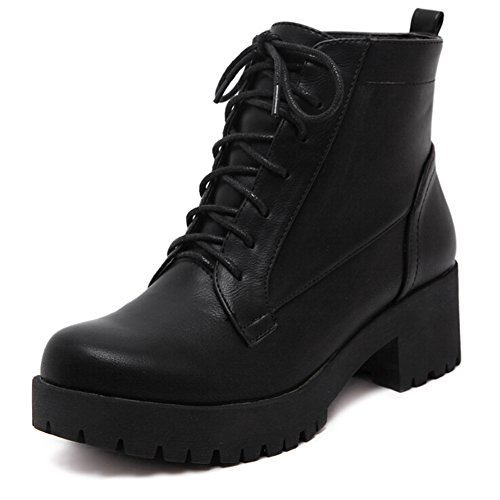 Ankle Faux Leather Chunky Platform Heel Womens Boot wRC6nxn