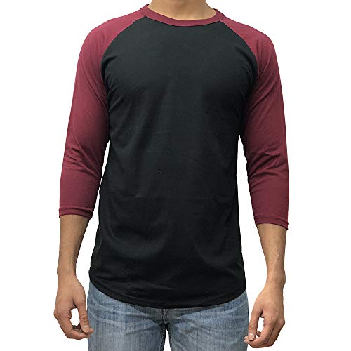 KANGORA Men's Plain Raglan Baseball Tee T-Shirt Unisex 3/4 Sleeve Casual Athletic Performance Jersey Shirt (24+ Colors) (Black Burgundy, X-Large)