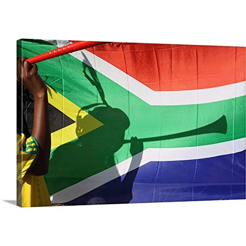 GREATBIGCANVAS Gallery-Wrapped Canvas Entitled Shadow of Soccer Supporter Blowing Vuvuzela, South African Flag in Background by 60