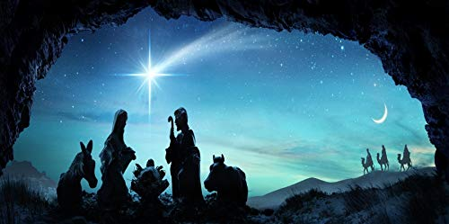 AOFOTO 10x5ft Nativity of Jesus Silhouette Background for Photography Christianity Holy Family Mary Joseph Birth of Chirist Night Comet Stars Manger Scene Backdrop Photo Studio Props Banner