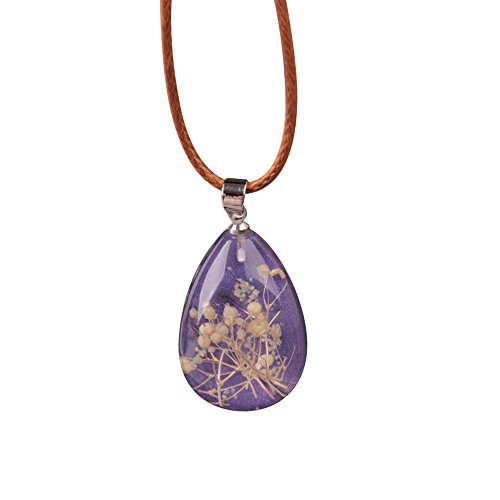 Womens Necklace Luminous Dried Flower Teardrop Pendant Necklace Charm Chain Jewelry