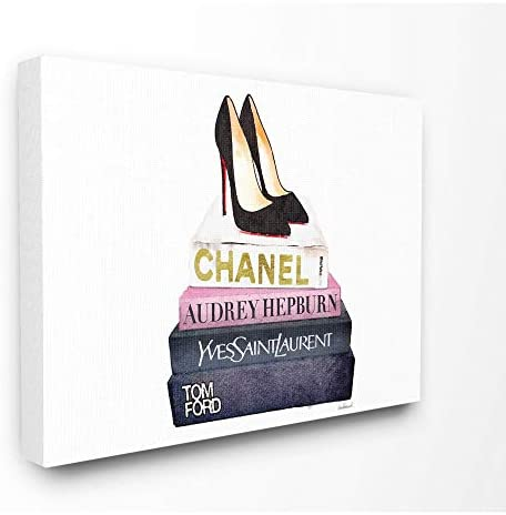 Stupell Industries Glam Fashion Book Set Black Pump Heels Canvas Wall Art