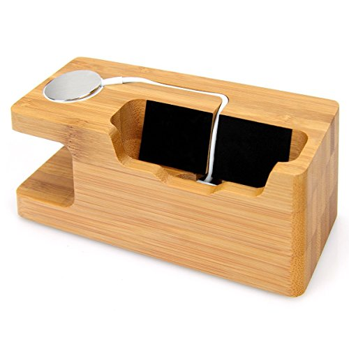 AICase Bamboo Wood USB Charging Station, Desk Stand Charger, 3 USB Ports 3.0 Hub, for iPhone 7/7Plus/6s/6/Plus/5s & 38mm/42mm Apple Watch, Samsung & Most Smartphones (Bamboo Wood) by AICase (Image #5)