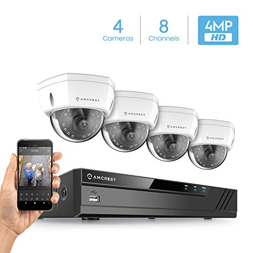 Amcrest 4MP Security Camera System, w/ 4K 8CH PoE NVR, (4) x 4-Megapixel 3.6mm Wide Angle Lens Weatherproof Metal Dome POE IP Cameras, NV4108E-HS-IP4M-1028EW4 (White)