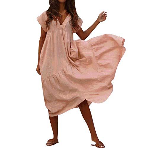 Soft Linen Cotton Lantern Loose Dress Spring Summer Fall Plus Size Clothing Casual Beach Maxi Dresses Sundress Pink -