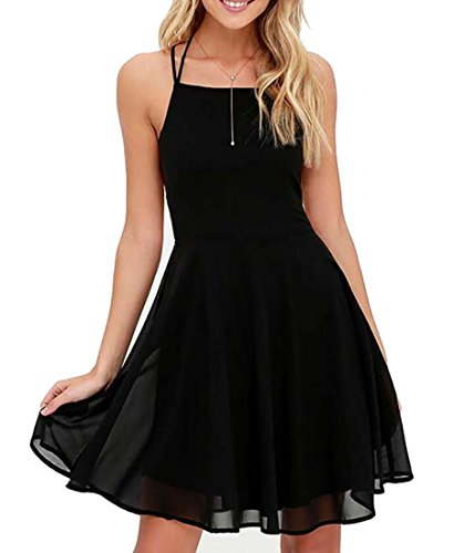 Open Cocktail Swing Back Up ainr Black Woman Dress Solid Chiffon Lace Halter tEwazaq8