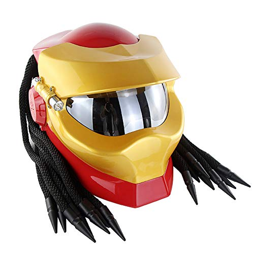 DYM258 Jagged Warrior Predator Full Face Helmets D.O.T Certified Motorcycle Riding Harley Retro Scorpion Mask Cross-Country with Braid and LED Light,Red Gold,L
