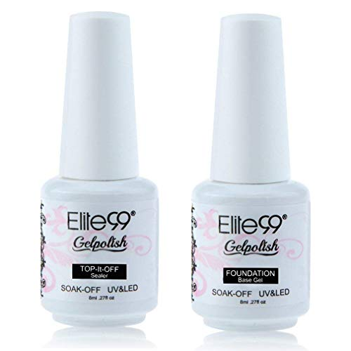 Elite99 Top Coat Base Coat Gel polish Soak Off UV LED Gel Nail Polish Lacquer 8ml Clear…