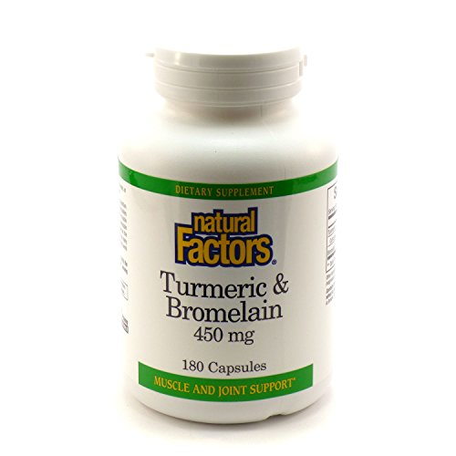 Bundle – 2 Items 1 Bottle of Turmeric Bromelain 450mg by Natural Factors – 180 Capsules and 1 VDC Pill Box