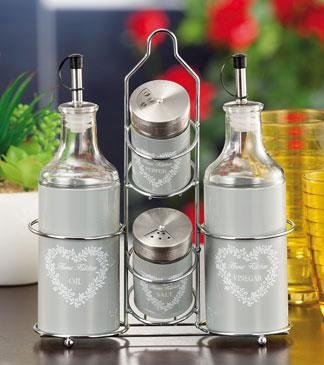 Menage in vetro olio, aceto, sale e pepe colori assortiti cm. 21,5 x ...