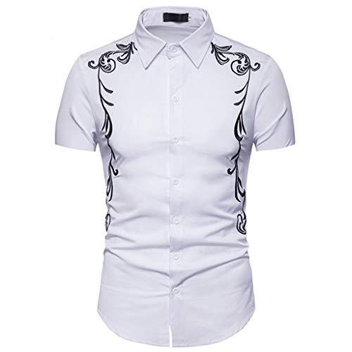 Button Down Shirts Men Hipster Casual Slim Fit Short Sleeve Tops with Embroidery -