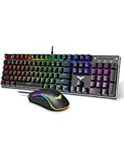 Havit Wired Mechanical Keyboard and Mouse Combo Gaming Keyboard 104 Keys Rainbow Backlit USB Keyboard Blue Switch Mechanical, 4800 Dots Per Inch 7 Button Mouse Wired for Gamer Computer Laptop (Black)