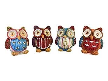 Eulen Dekoeule Eule 4 Er Set Bunt Figuren Keramik Owl Dekoration 4