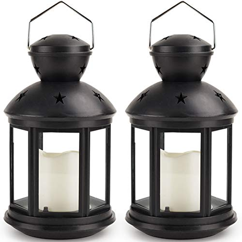 (Bright Zeal 2-Pack Hexagon Candle Lantern with LED Flameless Candles Flickering (Black, 8