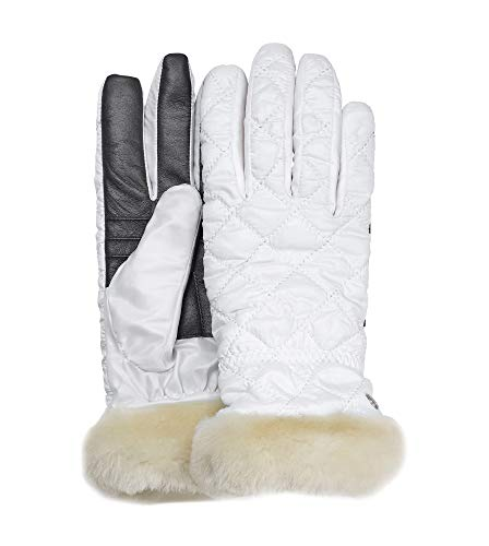 UGG Women's Quilted All Weather Water Resistant Tech Gloves White ()