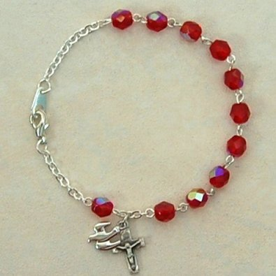 BR270- Solid .925 Sterling Silver 6mm Red Holy Spirit Bracelet Adult Medal Birthstone Birthday Gemstone Month BR270 MCV