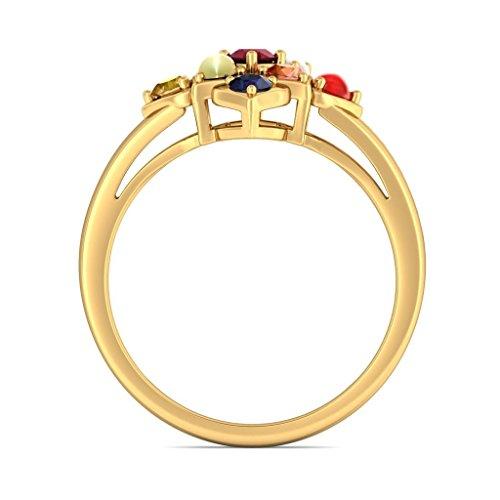 14K Or jaune, 0,06carat Diamant Blanc (IJ | SI) Rubis et Navaratna et diamant Bague