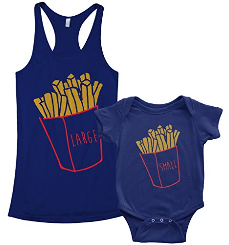 Threadrock Small & Large Fries Infant Bodysuit & Women's Racerback Tank Set (Baby: 6M, Navy|Women's: M, Navy)]()