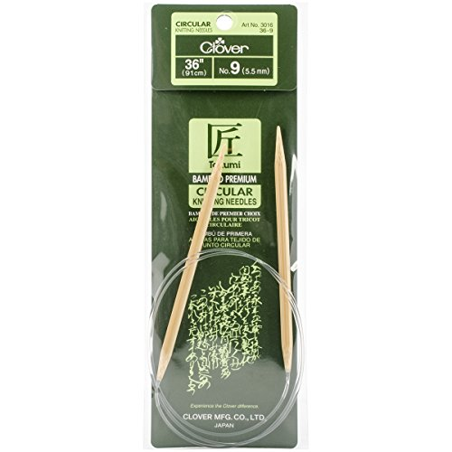 Clover Takumi Bamboo Circular 36-Inch Knitting Needles, Size 9 (3016/36-09)