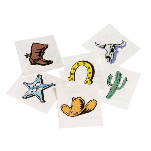 DollarItemDirect Western Cowboy Temporary Tattoos , Sold by 15 GROSSES