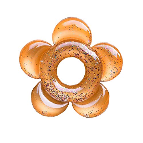 UMFunInflatable Flower Sequin Swimming Ring Adult Large Buoy Mount Floating Row (Gold) -